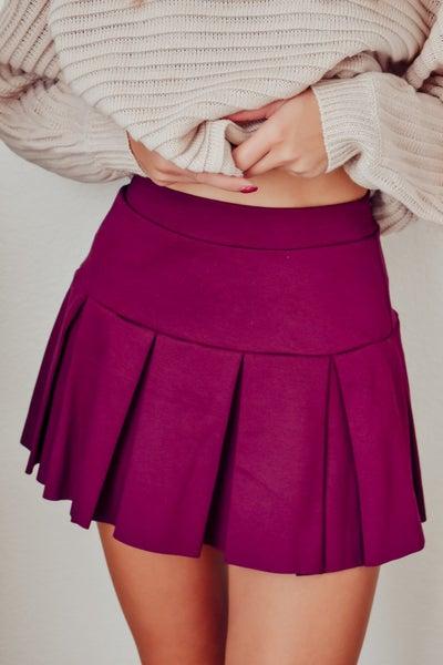 On Screen Pleated Skirt - Plum