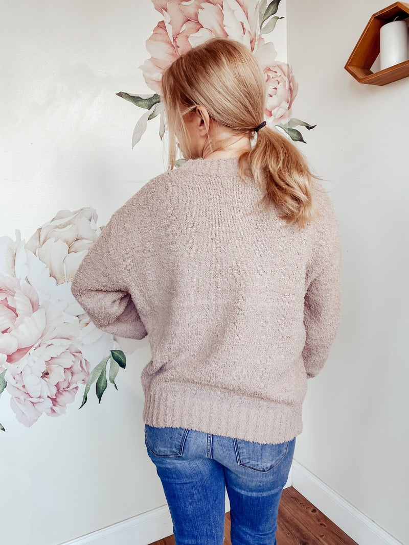 Teddybear Pullover Sweater - Light Mauve