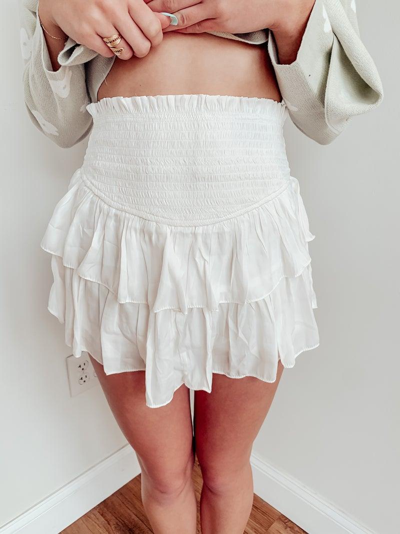 Ruffle Me Up Skirt-White