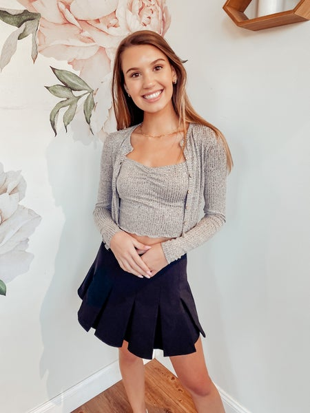 Made for Each Other Sweater Set - Charcoal