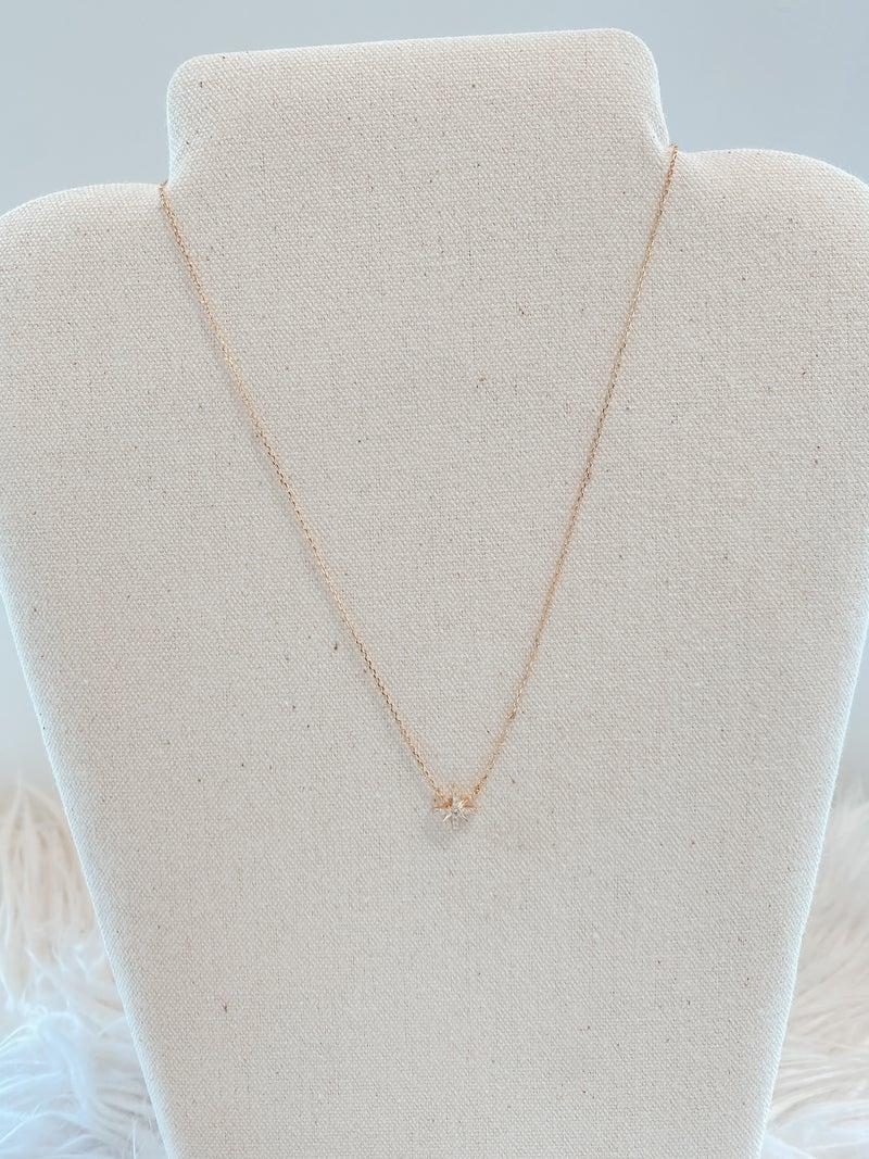 Rhinestone North Star Pendant Necklace - Gold