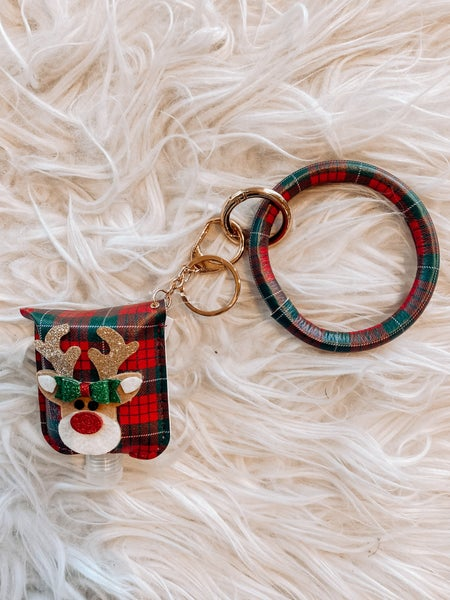Wristlet Keychain with Sanitizer Bottle - Red/Green Plaid with Rudolph Graphic