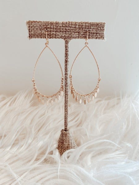 Gold Drop Dangle Earrings/Leaf Dangles