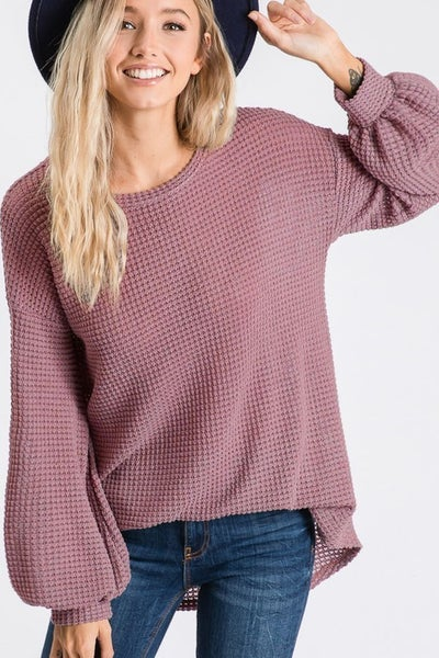 Katie Popcorn Waffle Knit Top with Ballon Sleeves (4 colors)