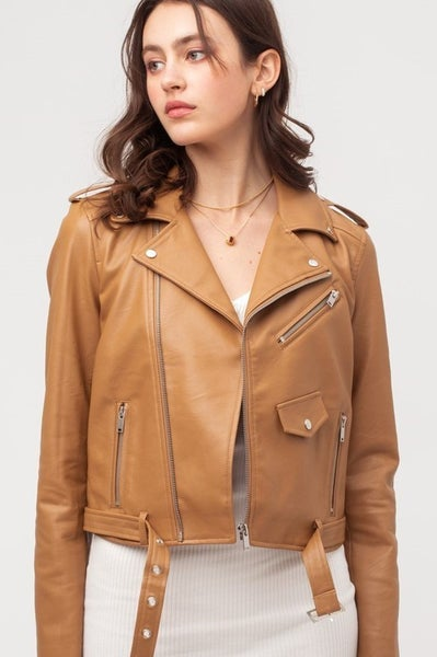 Millie Faux Leather Moto Jacket 40% OFF!!