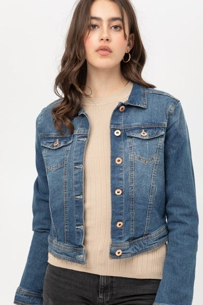 Lilith Cropped Washed Out Cropped Denim Jacket