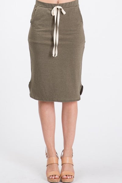 Sawyer French Terry Midi Skirt w/Pockets 40% OFF!!