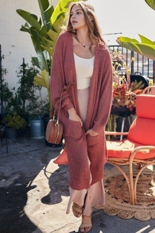 Casey Ballon sleeve Side Slit Long Cardy