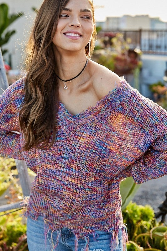 Tina Frayed Multi Color V-Neck Sweater