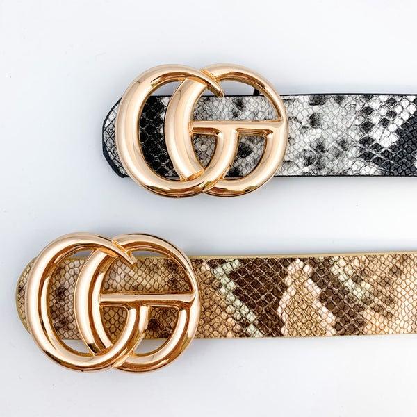 Snake Print Double G Belt