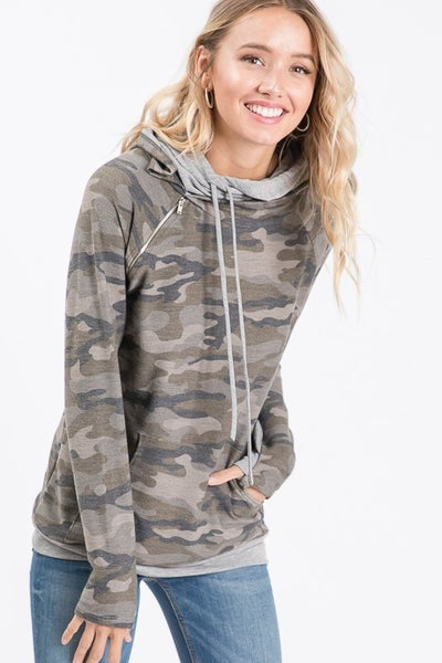 Kelly Double Hoodie Camo French Terry Top
