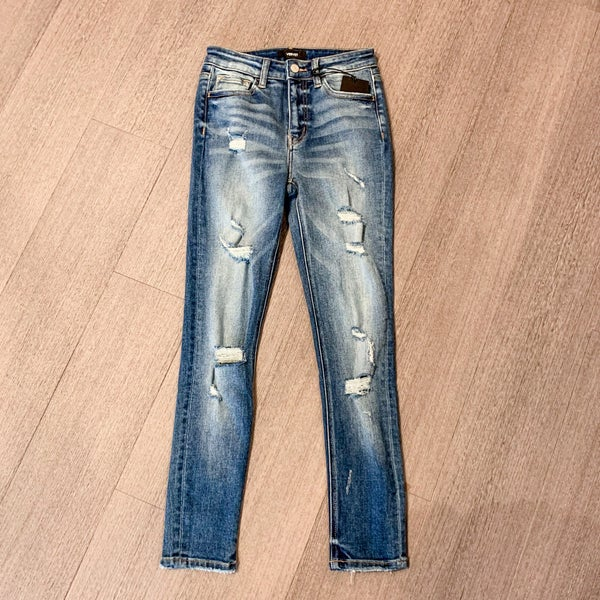 Vervet Mid-Rise Patch Distress Skinny Jean