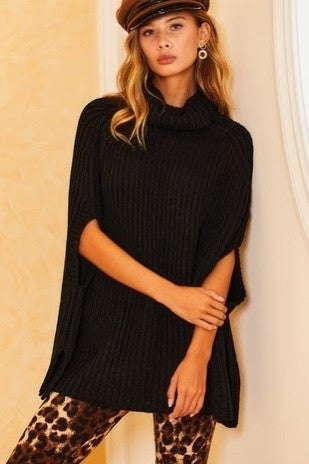 Dalia Turtle Neck Sweater Cape