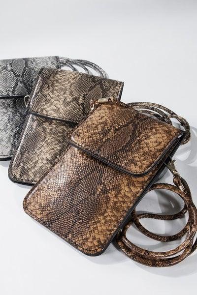 Snake Print Crossbody Handbag