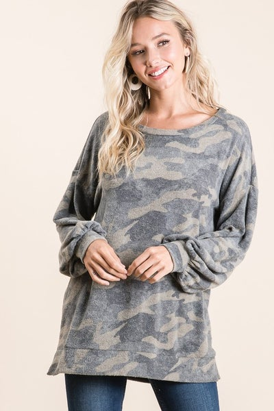 Bree Brushed Hachi Camouflage Wide Neck Top
