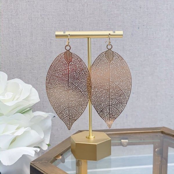 Ana Foil Leaf Earrings
