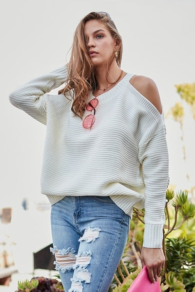 Tami  Round Neck Cold Shoulder Long Sleeve Solid Sweater