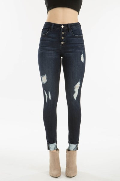 KanCan Dark Wash High Rise Button Fly Ankle Skinny