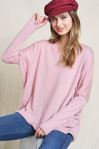 MIlly Double V Neck Lightweight Sweater