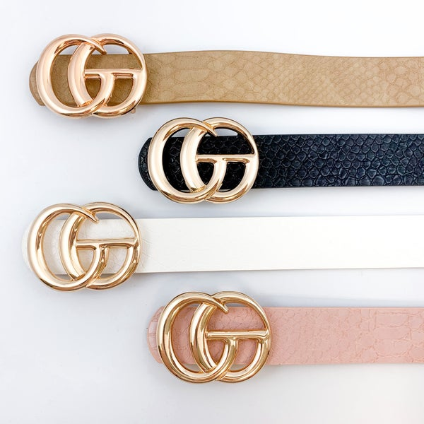 Embossed Faux Leather Double G Belt