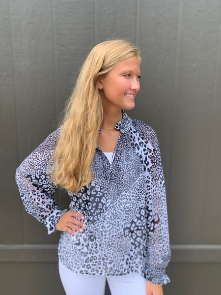 Lucy Leopard Peasant Top