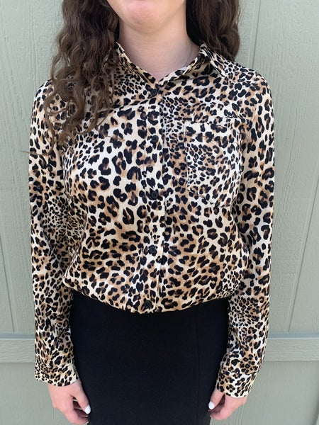 Veronica Leopard Button Up Blouse