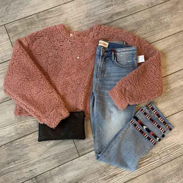Mauve fleece cropped top