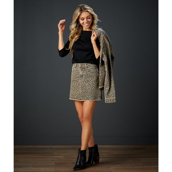 Stevie Leopard Denim Skirt