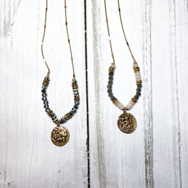 Gold Beaded Coin Necklace