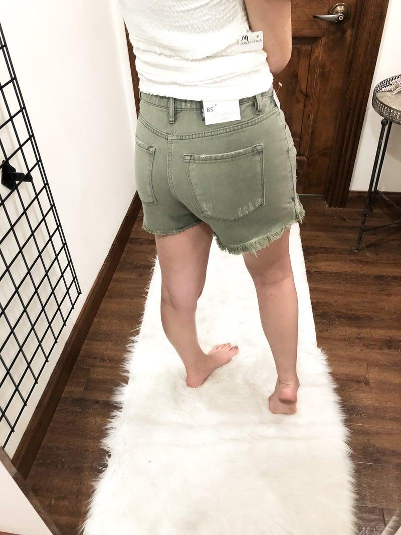 Green Machine Denim Shorts
