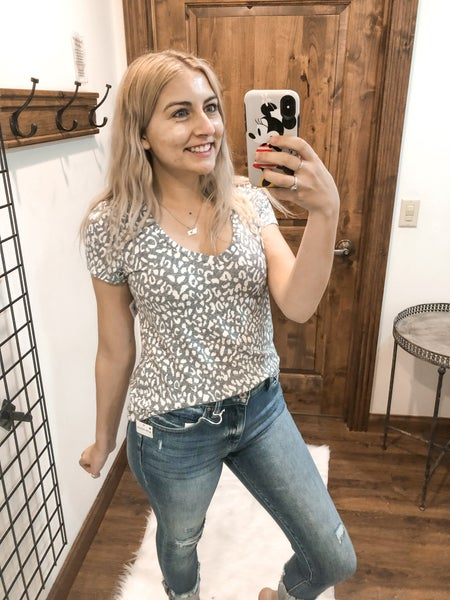 Gray and White Leopard Tee