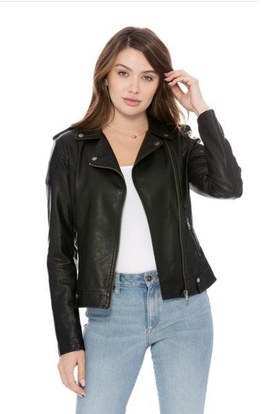 Black Vegan Leather Moto Jacket