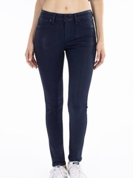 KanKan Mid Rise Shine Coated Skinny Jeans
