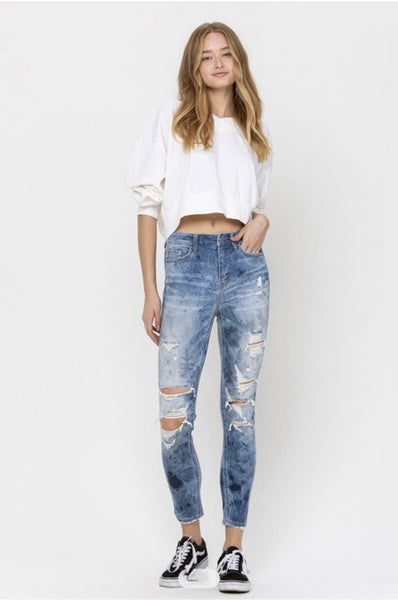 Distressed High Rise Cropped Skinny Jeans