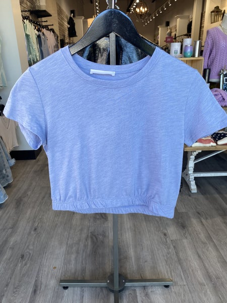 Cropped Tee With Cinched Elastic Hem