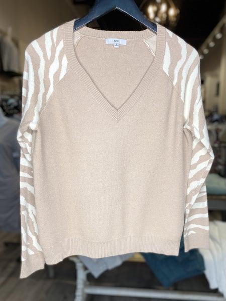 Zebra Print V-Neck Sweater