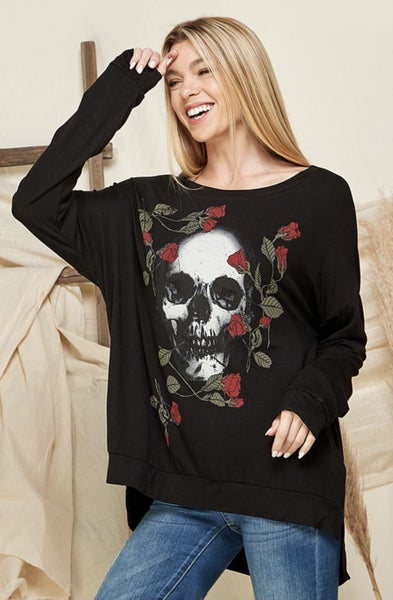 Skull and Roses Oversized Tunic