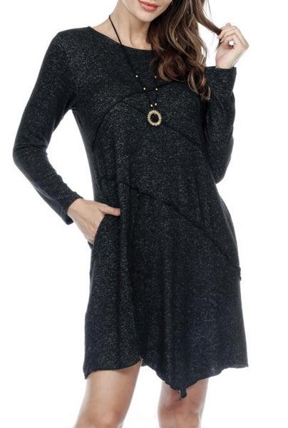 Asymmetrical Hem Patchwork Dress
