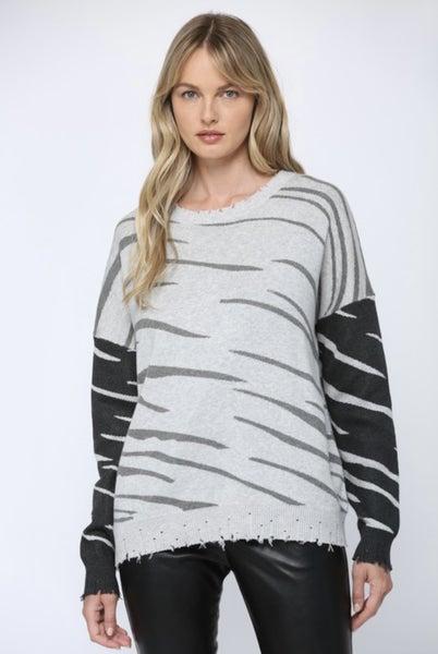 Zebra Knit Distressed Sweater