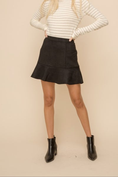 Faux Suede Flared Skirt