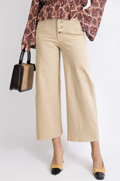 Stretch Twill Cropped Wide Leg Pants