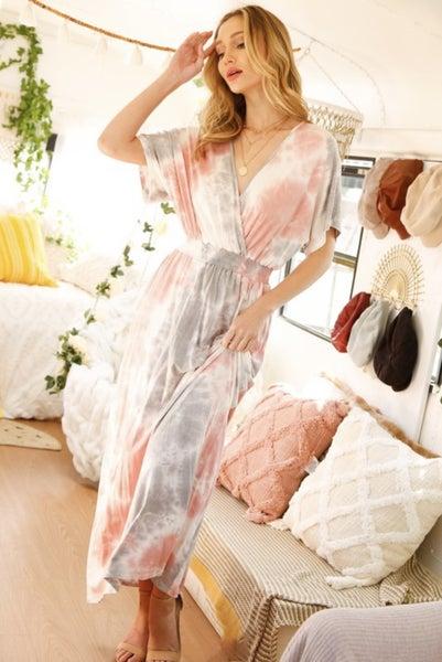 Surplice Kimono Sleeve Maxi Dress