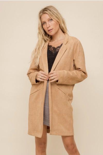 Lightweight Suede Open Coat
