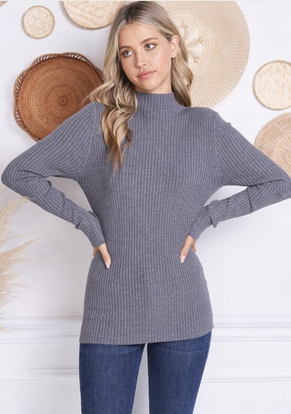Fitted Ribbed Mock Neck Top