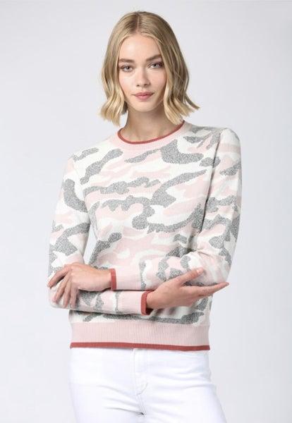 Camo Crewneck Sweater with Contrast Trim
