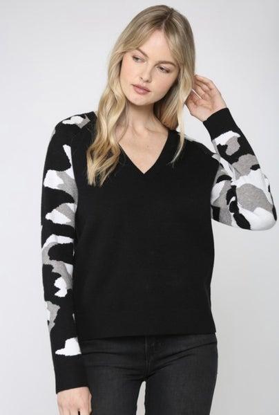 Camo V-Neck Sweater