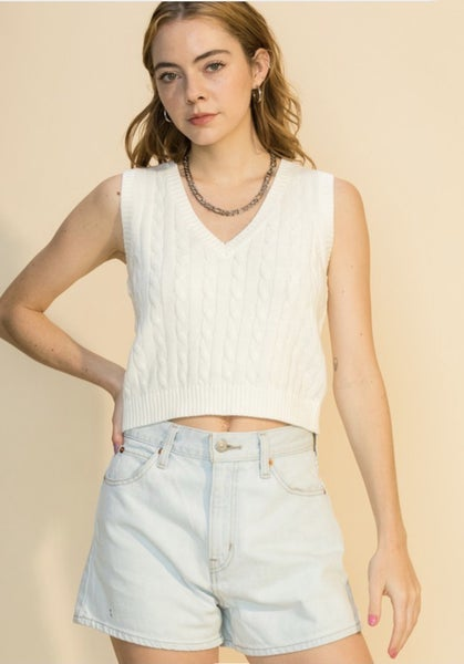 Cable Knit Sleeveless Top