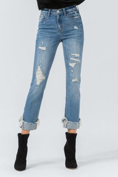 High Rise Straight Jean with Frayed & Cuffed Hem