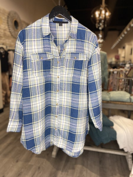 Button Down Long Flannel Top
