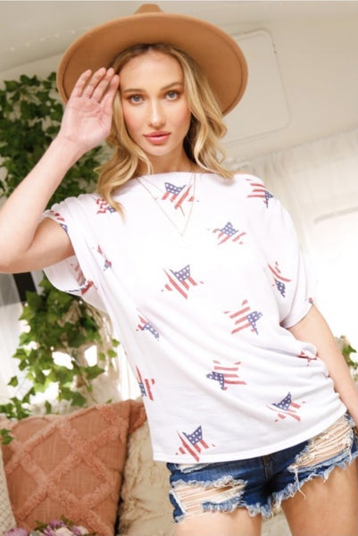 Ruched Shoulder Stars and Stripes Top